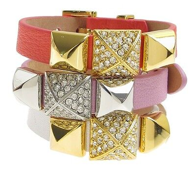 Juicy Couture Pave Pyramid Stud Leather Wrap Buckle Cuff Bracelet  Pave Pyramid Cuff