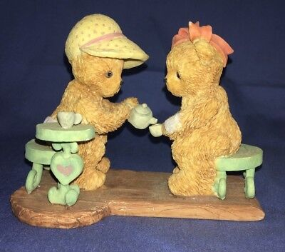 Adorable Vintage Girls Friends Bear Figurines Tea Party Resin Pink Hat Bow