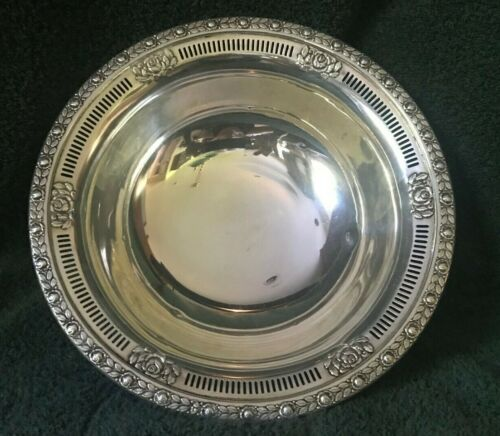 STERLING SILVER 10 INCH BOWL, MARKED <M> STERLING 6.0 ROYAL ROSE
