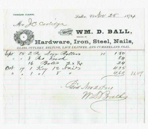 Hardware Receipt for John Calvin Coolidge Sr.(Father of Calvin) Ludlow, VT 1874