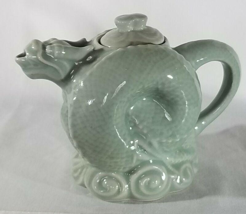 Vintage Dragon Teapot Celadon Green Porcelain Asian
