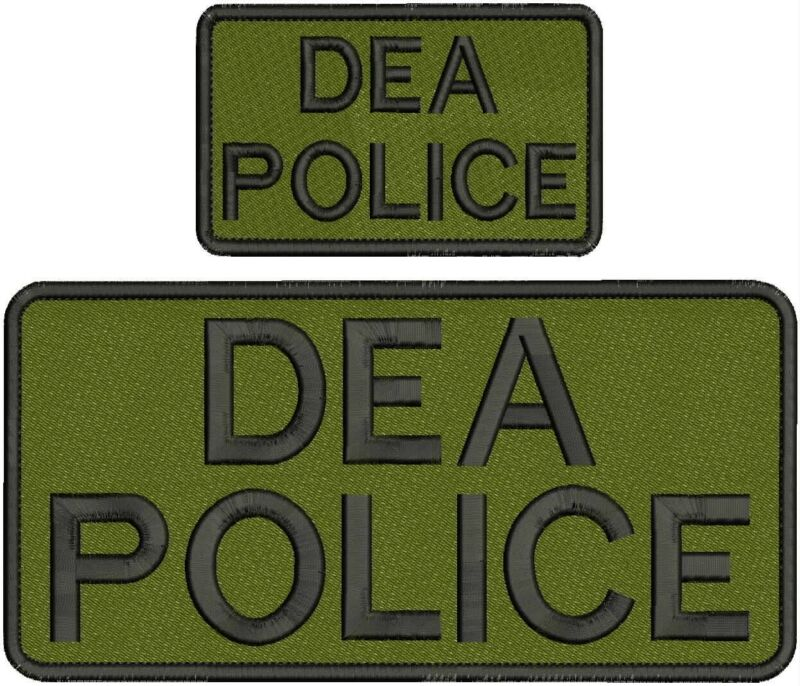 """DEA police Embroidery patches 4.75 X 10"""" and 3x5 hook black letters"""