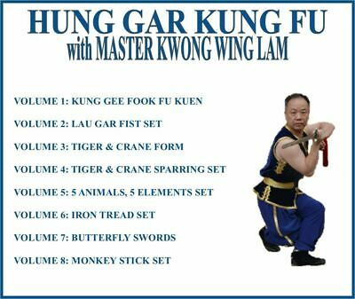 HUNG GAR KUNG FU (8) DVD SET tiger crane lau gar fist 5 animals elements shaolin