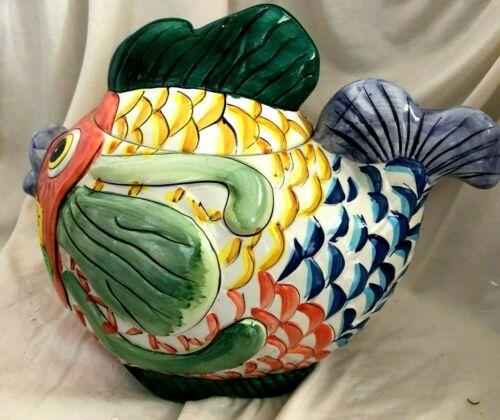 Colorful Fish Ceramic Cookie Jar