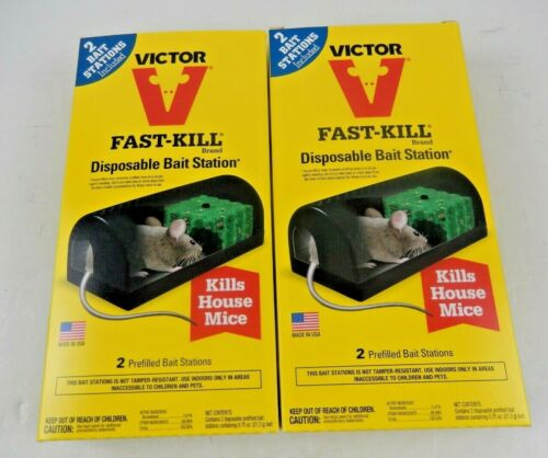 Lot of 2 Victor Fast Kill Mice Disposable 2 Prefilled  Bait Station Indoors