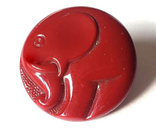 Vintage Glass Pictorial Button….Art Deco Elephant…Brick Red
