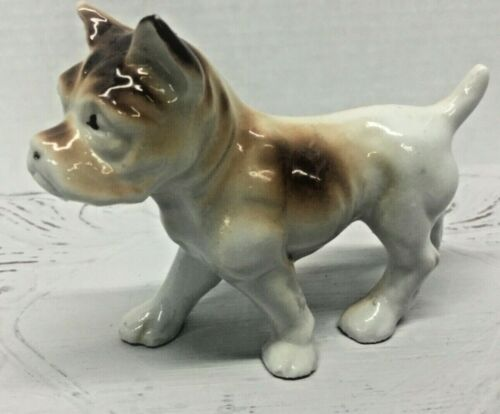 "Vintage Japan Brown American Bulldog Bull Dog Figurine Glazed 4"""