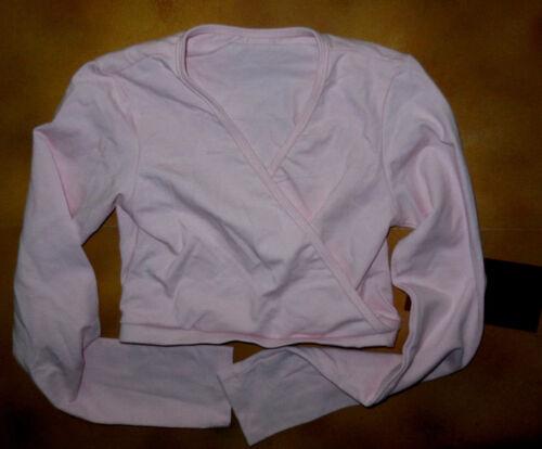 NWT Dance Mirella Pink Mock Wrap Long Sleeve Shrug Top Girls Sizes M704C