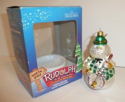 Sam the Snowman Rudolph Hand-Crafted Glass Ornament Brass Key Holiday Christmas