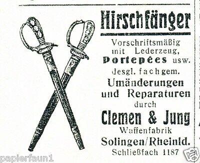 Reklame 1935 für Hirschfänger  von Waffenfabrik Clemen & Jung Solingen Werbung