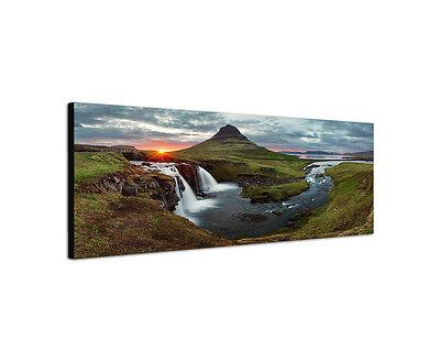 150x50cm Wandbild Panorama Island Frühling Landschaft Sonnenuntergang Sinus Art