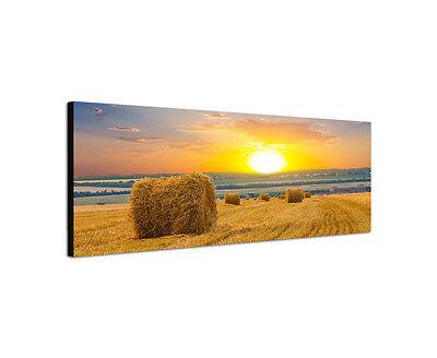 Heu Ballen Dekorationen (120x40cm Weizenfeld Heuballen Panorama Sonnenuntergang Herbst Wandbild Sinus Art)