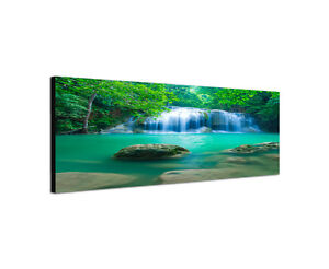 120x40cm Wandbild Leinwand Panorama Erawan Wasserfall Nationalpark Sinus Art