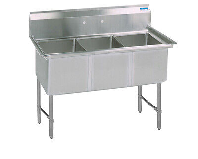 Bk Resources Bks-3-18-12s 59w Three Compartment Ss Sink 12 Deep W Ss Legs
