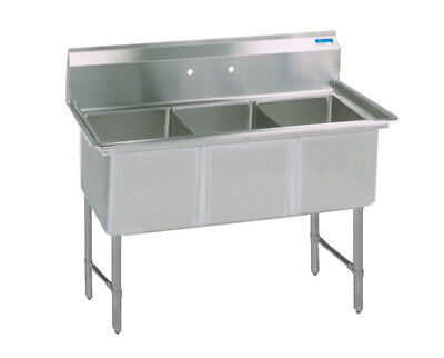 Bk Resources 53x25.5 Three Compartment 16 Gauge Stainless Steel Sink