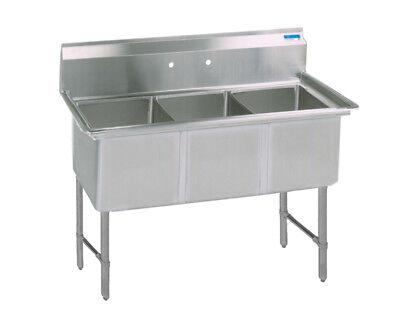 Bk Resources 53x25.5 Three Compartment 16 Gauge Stainless Steel Sink