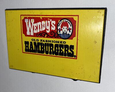 Vintage WENDY'S YELLOW Logo Uniform Employee Name Tag Badge Hamburgers Free Ship
