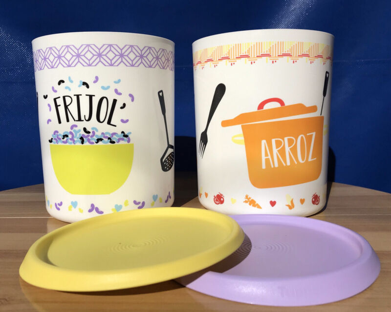 """Tupperware One Touch Canisters Set of 2 """"Frijol Arroz"""" Spanish 13cup New"""