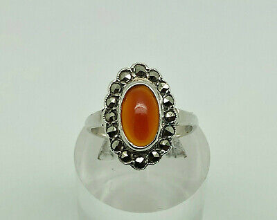 Vintage Art Deco Sterling Silver Carnelian & Marcasite Cocktail Ring Size L 1/2