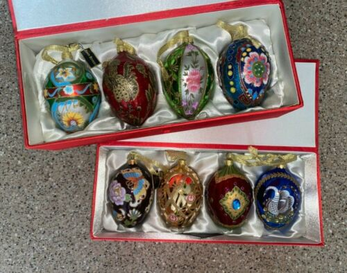 Set of 8~Joan Rivers~Russian Inspired Egg Ornaments~Blown Glass~New in Box