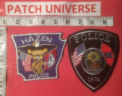 LOT OF TWO DIFFERENT HAZEN  ARKANSAS POLICE  SHOULDER PATCHES  N121