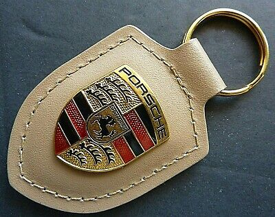One (1) <NEW> Mocha Brown Leather PORSCHE Key Ring (Chain) With Metal OEM Crest