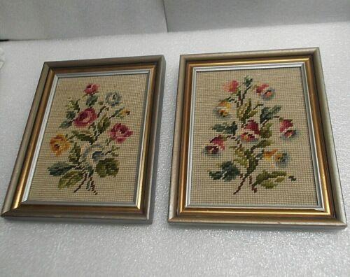 Vintage Framed Floral Needlepoint Pictures/Set of 2 Handmade 1960