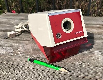Vtg EUC RARE Red Hitachi Electric Pencil Sharpener PH-10 School Classroom JAPAN
