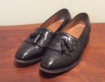 Johnston & Murphy Optima Size 10 Tassel Wing Tip Loafers Shoes Mens Black