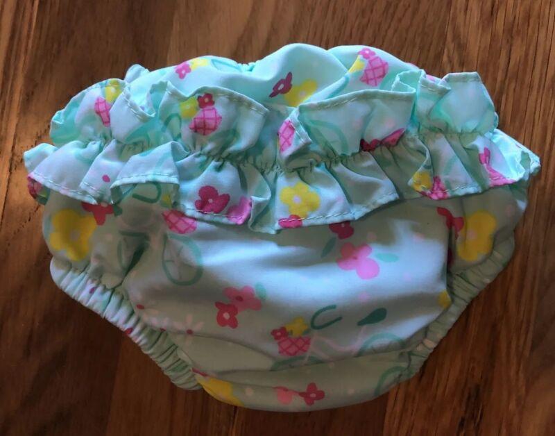 iPlay Small Reusable Swim Diaper Bicycles Flowers Mint 3-6 Mo, 10-18 lbs UPF 50
