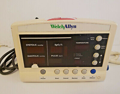 Welch Allyn 52000 Series Vital Signs Patient Monitor With Cables Untested As Is