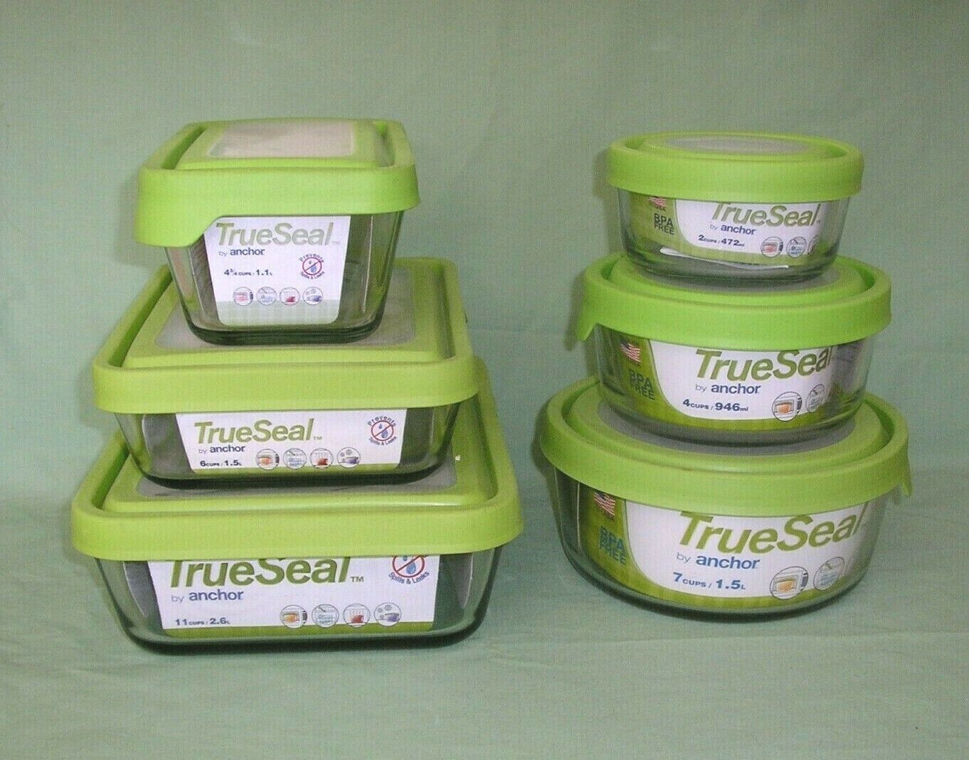 TrueSeal by Anchor Hocking Glass Container with Lid in Lime