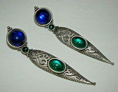 1920s Art Deco Jewelry: Earrings, Necklaces, Brooch, Bracelets Vintage Rare JJ Pewter Art Deco Cabochon Beads Pierced Long Earrings 3 3/4