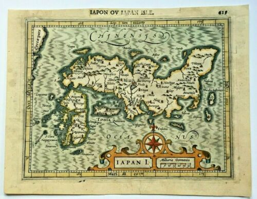 JAPAN 1607 MERCATOR HONDIUS ATLAS MINOR NICE UNUSUAL ANTIQUE MAP 17TH CENTURY
