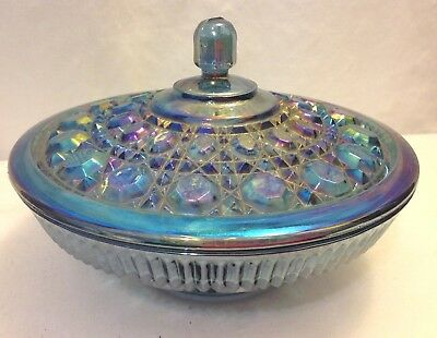 INDIANA WINDSOR BLUE CARNIVAL GLASS CANDY DISH W/ LID IRIDESCENT LARGE 7 -1/2""