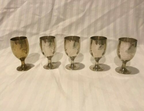 5 Silver Plate Wine Glasses Mini Cups Matching Set Vintage Silverplate Cup
