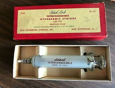Ideal Lock Interchangeable Hypodermic Syringe Luer Type 20 Cc Resistant Glass