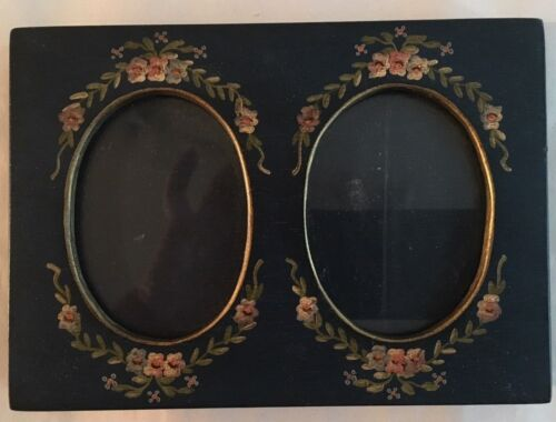 GORGEOUS Old Vintage Double Wood PICTURE FRAME Hand Painted Flowers Signed