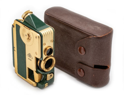 (24) GOERZ Minicord Gold plated w/green leather, case, beautiful, serviced