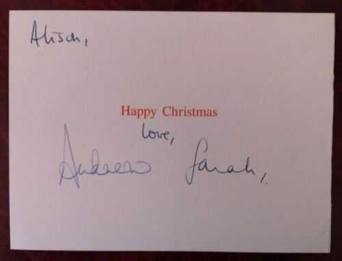 Scarce Prince Andrew & Sarah Ferguson hand signed card - Duke & Duchess of York