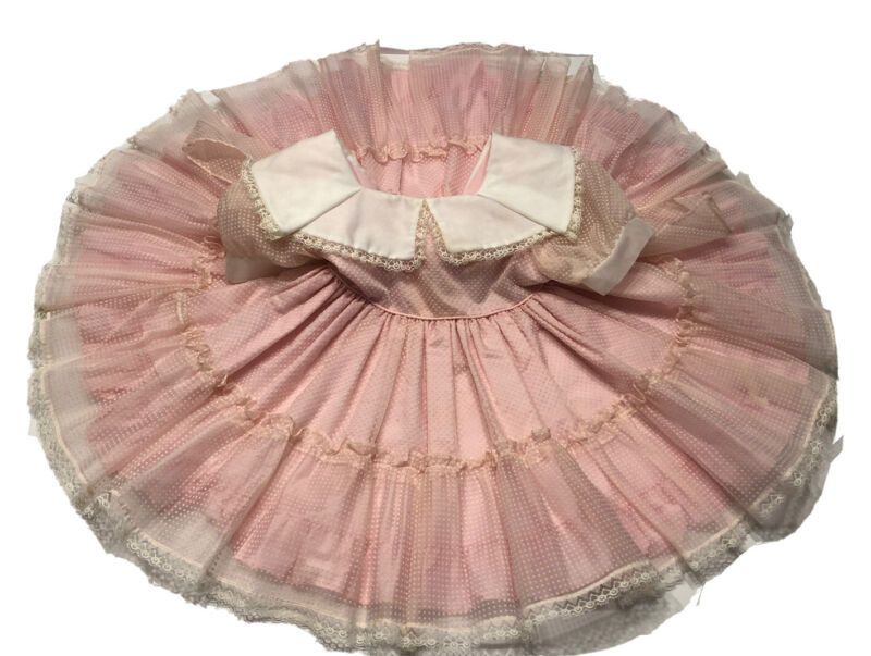 Martha's Miniatures Dotted Swiss Pink Party Birthday Dress 4 Vintage Full Circle