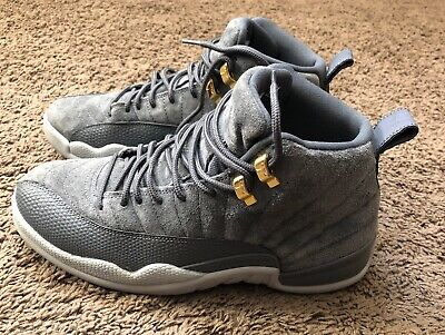 Mens Jordan Retro 12 Size 8.5 Gray Suede High Tops Basketball