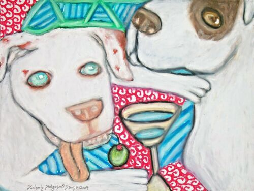 American Bulldog with a Martini Pop Art Print 5x7 Dog Collectible Signed Artist