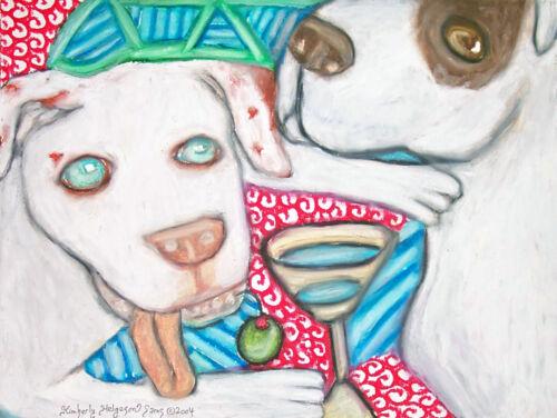 American Bulldog Collectible Art Giclee Print 4 x 6 by Artist KSams Martini Dogs