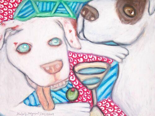 American Bulldog Drinking Martini Art Print 11 x 14 Dog Collectible Artist KSams