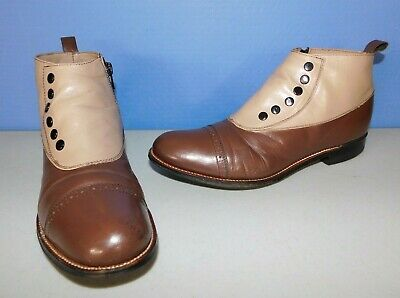 Spats, Gaiters, Puttees – Vintage Shoes Covers STACY ADAMS MADISON SPAT BUTTON 2 TONE BROWN LEATHER DRESS BOOTS, MEN'S SIZE 7.5 $30.00 AT vintagedancer.com
