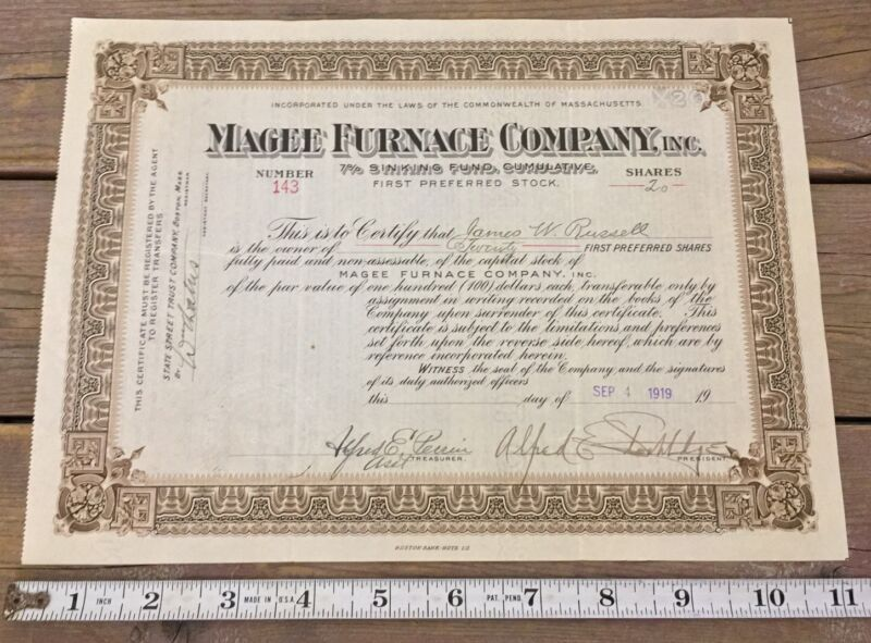 Antique 1919 Magee Furnace Company Inc Pref Stock Cert 20 Shares Massachusetts