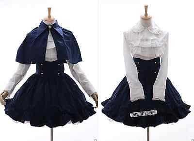 JL-584 blau weiß Classic Gothic Lolita Cape Bluse Rock Set Kostüm dress Cosplay