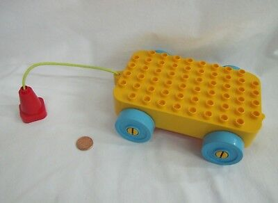 Rare LEGO Duplo Yellow WAGON PULL ALONG CAR VEHICLE for Building Toddler Play