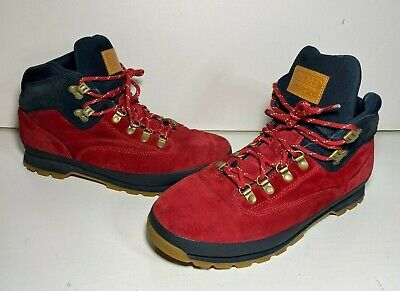 10 (TEN) Deep x Timberland Euro Hiking Boots Shoes - Red/Navy - EUC - US Size -